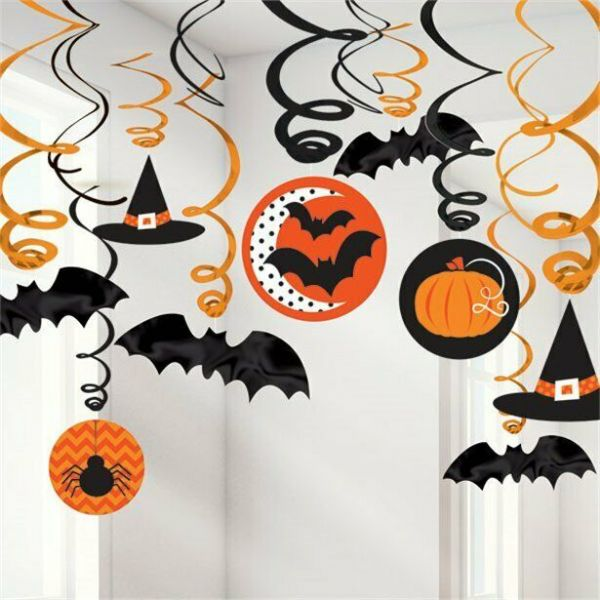 Halloween Hats and Bats Hanging Swirls - 60cm (30pk)